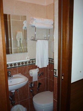 Hotel Ivanhoe : petite salle de bain propre avec tout le nécessaire