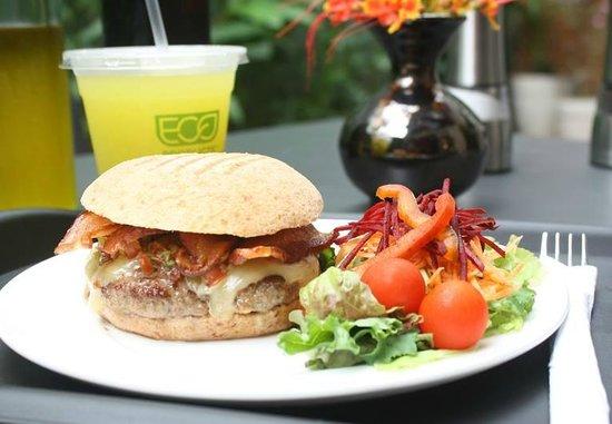 Kasava: Burgers served with salad or sweet potato fries!