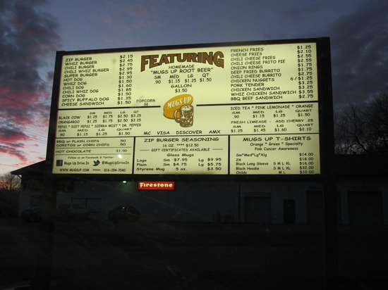 Mugs-Up Root Beer Drive-In: Mugs Up newer sign board