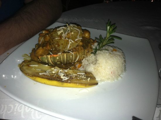 La Habichuela Centro: Piece of lobster and shrimp with over-ripe banana slice