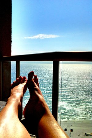 Portofino Island Resort Spa: Relaxing with your morning coffee on the gulf front balcony