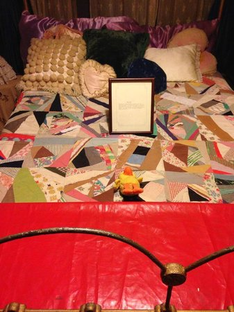 Miss Hattie's BORDELLO MUSEUM: Plastic at bottom of bed for men who didn't want to take off boots