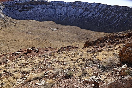 Meteor Crater: Too large for one photo to capture, but shows some snow.
