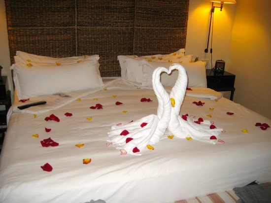 Sanctuary Cap Cana by AlSol: Rose Petals covering our room after his wedding proposal
