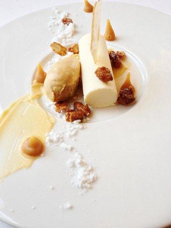 Samuel's at Swinton Park: White Chocolate Mousse w/ Sesame, Peanut & Salted Caramel Ice Cream.
