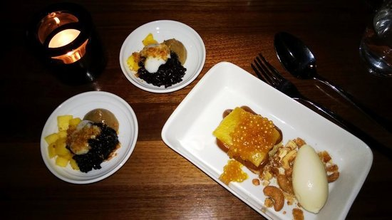 Farang : Khao san, black sticky rice, coconut cream, banana pudding, caramelised peanuts. Man guru, caram