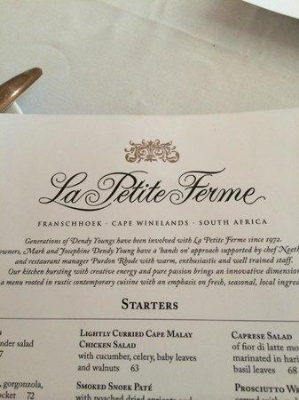 La Petite Ferme: Carta do Restaurante