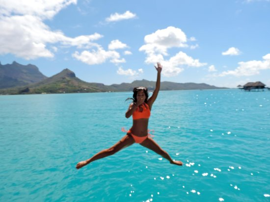 Four Seasons Resort Bora Bora: jumping in off our deck
