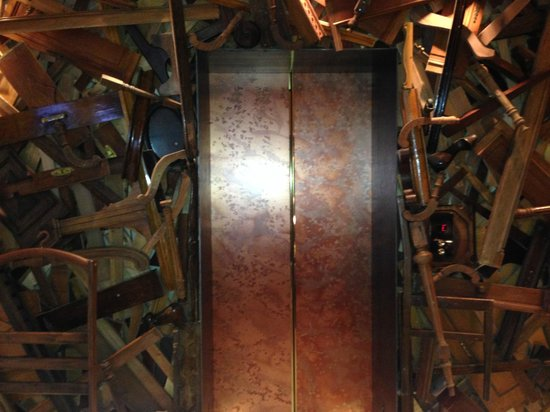 New Hotel: elevator with recycled objects