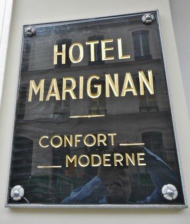Plaque at Hotel Marignan entry
