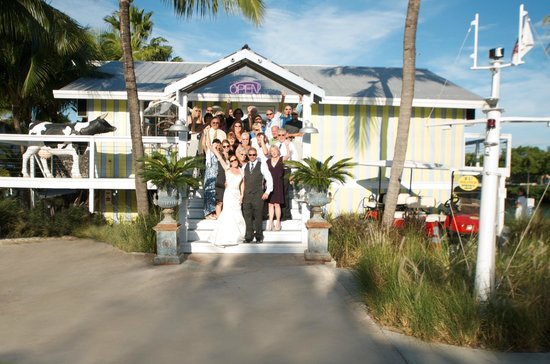 bride and groom with wedding guests at Ibis Bay Beach Resort