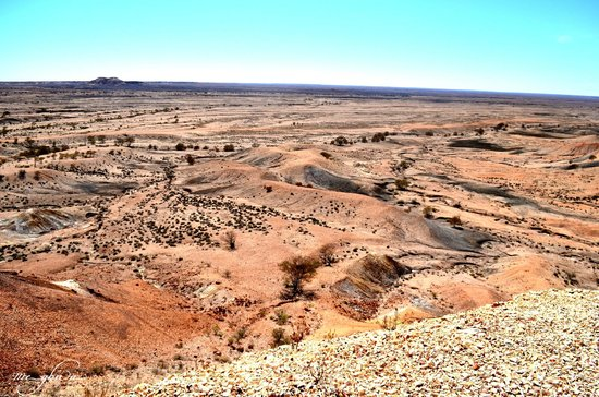 "Underground Bed & Breakfast: View from top of the Painted Desert ""mountains""."