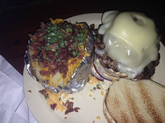 Yo-Mama's Bar and Grill : Mushroom Swiss Burger, Baked Potato with bacon and cheese - YUMMY.