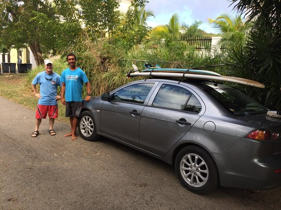 Banana Dang: Reviewer, Ron Davis and Rincon Surf instructor heading out to Dogmans' beach