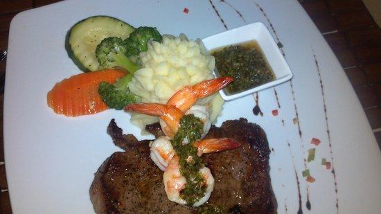 The Secret Garden Restaurant: Steak and Shrimp Dinner