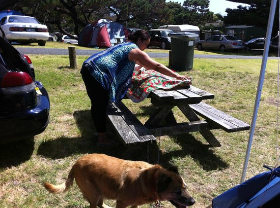 Muriwai Motor Camp: Picnic tables available on site & dogs allowed