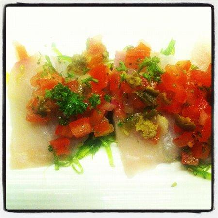 The Sardine Room: kingfish sashimi w tomato & caper salsa