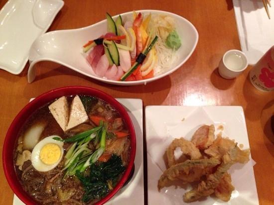 Miyabi Sushi: Beef soba, chirashi snd tempura.