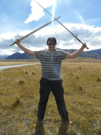 Lord of the Rings Twizel Tour: Always fun to play with swords.
