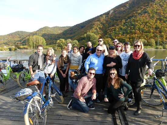 Vienna Explorer Tours & Day Trips: Bikers getting ready to take the ferry across the Danube