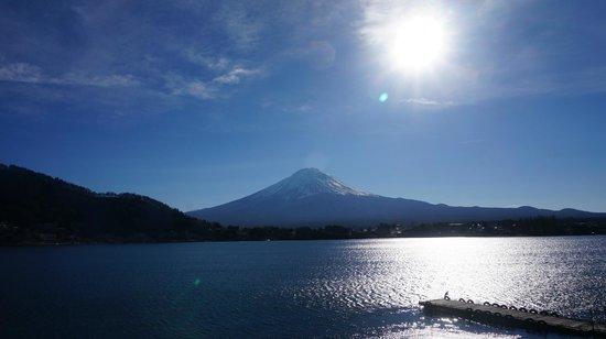 Lake Kawaguchi Ohashi Bridge: View of Mt. Fuji from the lake