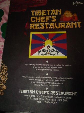 Tibetan Chefs Restaurant: Menu card