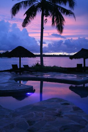 Coconuts Beach Club : Sunrise over the Gecko Pool (just outside our villa)