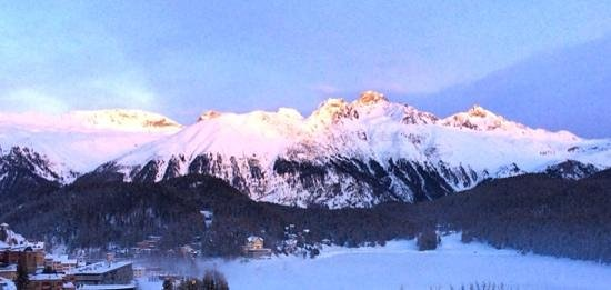 Lej da Staz: Golden evening light on the Swiss Alps, St. Moritz