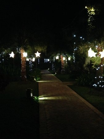 The Luang Say Residence: lights on the pathway for christmas