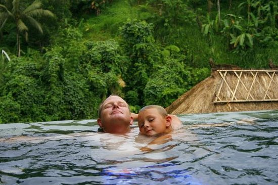 Viceroy Bali: Father and son enjoying the private plunge pool