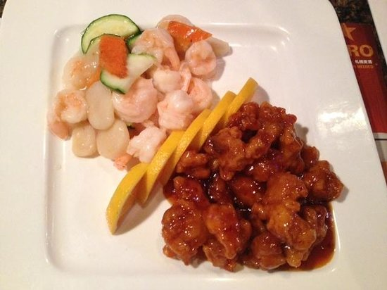 Wasabi Bistro: Tso's chicken and shrimp w water chestnuts