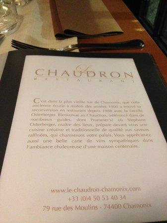 Le Chaudron: Menu