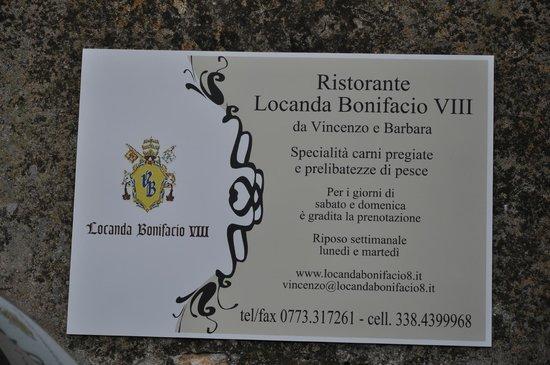 Bonifacio VIII: Вывеска ресторана