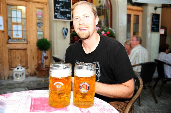 Beautiful day for a few beers at Restaurant Alter Keller in Rothenburg