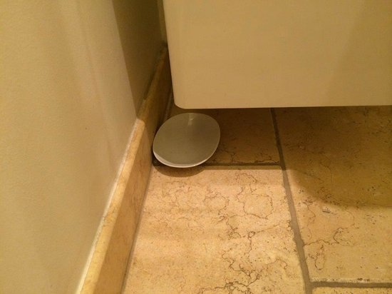 Hahn Apartments: Plate on a floor in a Bathroom... Not clear why...