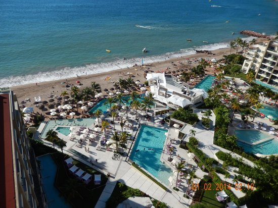 Secrets Vallarta Bay Resort & Spa: View of Pool, Beach and Ocean from Room Balcony