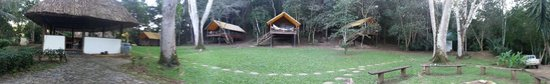 The Lodge at Chaa Creek: Upper casitas.  Dining hut to left, Bath house at far right
