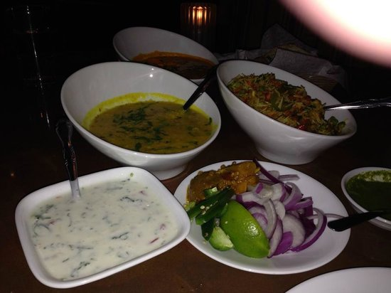 Tamba Indian Cuisine & Lounge: Yellow Daal, Vegetable Biryani & Raita