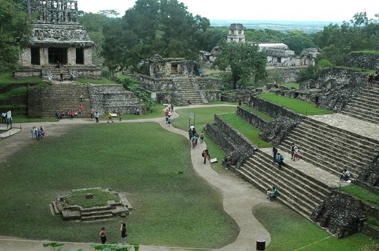 "Palenque ruinas: ""temple of the sun"", ""el palacio""  from the top of the ""temple of foliated cross"""