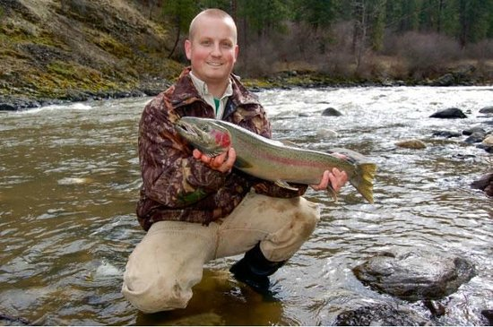 Pollock, ID: Fishing behind lodge on the Little Salmon River