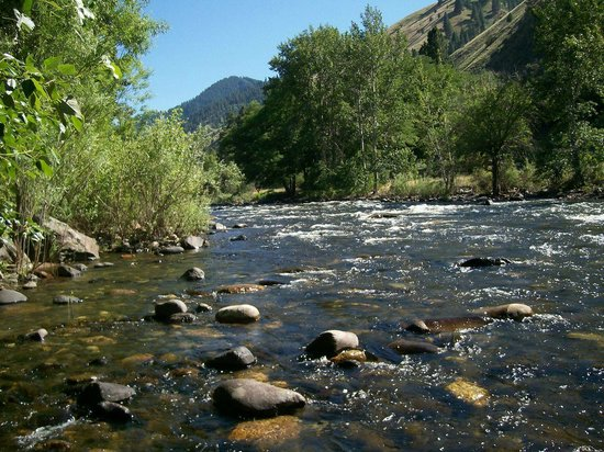 Pollock, ID: Little Salmon River behind lodge