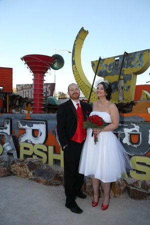 Scenic Las Vegas Weddings Chapel: Niki and Mike having a super-fantastic fun photo shoot at the Neon Boneyard