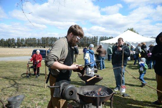 Pennsylvania German Cultural Heritage Center: Blacksmith demonstration at Easter on the Farm 2013.