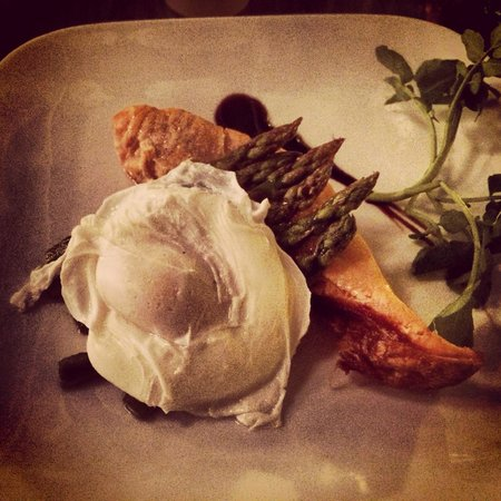 The Spark Lichfield: Salmon with poached egg and asparagus