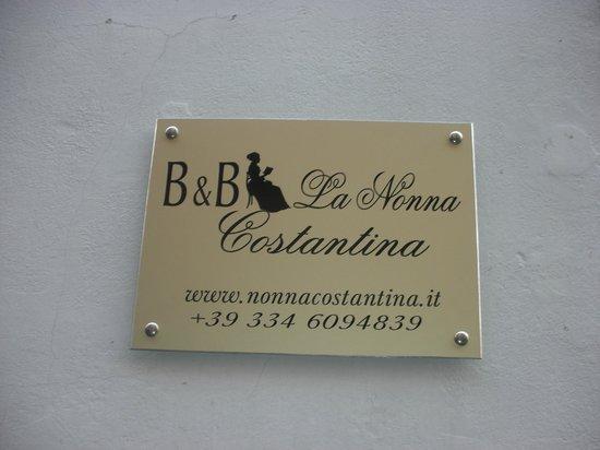 B&B La Nonna Costatina: Targa hotel