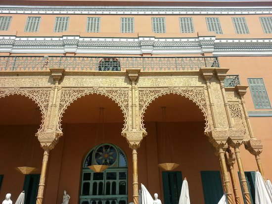 Cairo Marriott Hotel & Omar Khayyam Casino: back facade of hotel from the garden