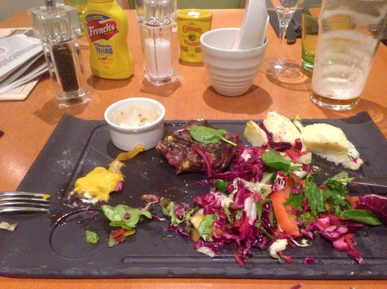 Holiday Inn Cardiff City Centre: Steak / mash / salad (£17). Houseslaw (coleslaw no mayo £2) and a small bland Stilton dip (£1.50