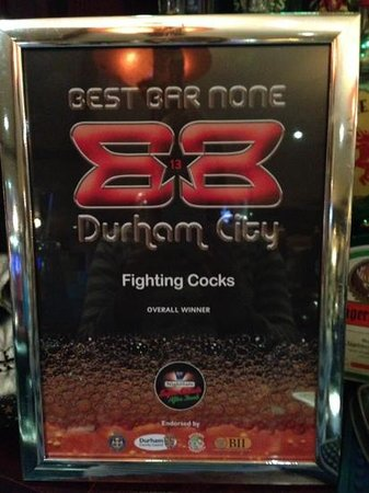 fighting cocks: Best Bar None pub category and overall winner 2013