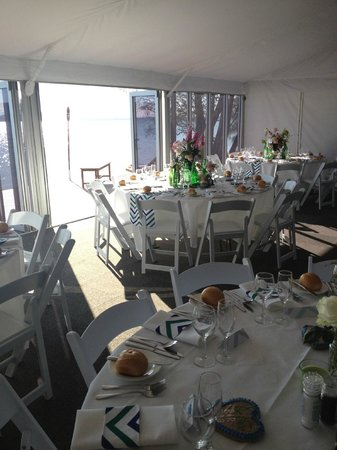 Ripples on the Lake : 5 star Marquee with opening bifold glass doors to complement the magnificent view