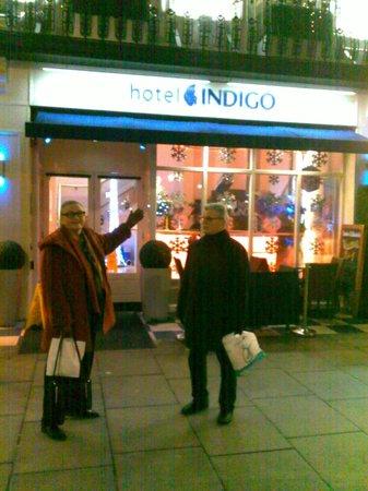 Hotel Indigo London-Paddington: My husband and I at the entrance to the hotel.